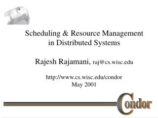 Scheduling  Resource Management in Distributed Systems  Rajesh Rajamani, rajcs.wisc  cs.wisc