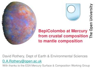 BepiColombo at Mercury  from crustal composition to mantle composition