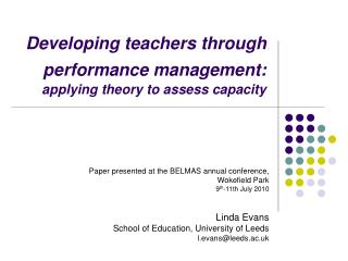 Developing teachers through  performance management:  applying theory to assess capacity