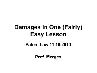 Damages in One Fairly Easy Lesson