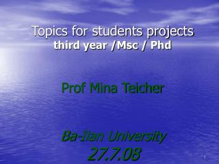 Topics for students projects third year