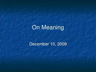 On Meaning