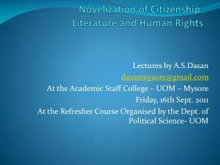 Novelization of Citizenship: Literature and Human Rights