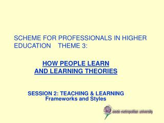 SCHEME FOR PROFESSIONALS IN HIGHER EDUCATION    THEME 3: