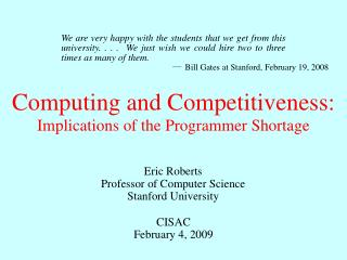 Computing and Competitiveness: