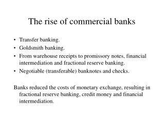 The rise of commercial banks