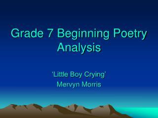 Grade 7 Beginning Poetry Analysis