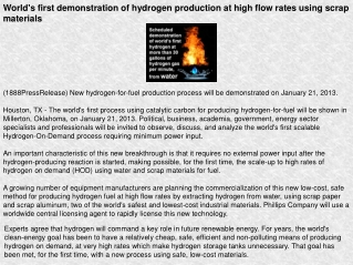 World's first demonstration of hydrogen production at high f