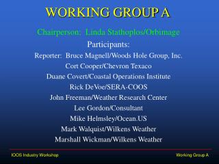 WORKING GROUP A