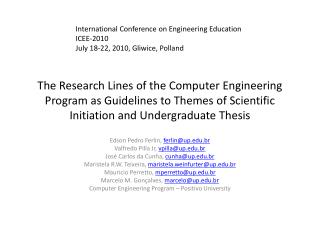 The Research Lines of the Computer Engineering Program as Guidelines to Themes of Scientific Initiation and Undergraduat