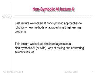 Non-Symbolic AI lecture 6
