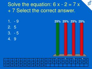 Solve the equation: 6 x - 2  7 x  7 Select the correct answer.