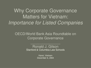 Why Corporate Governance Matters for Vietnam:  Importance for Listed Companies  OECD