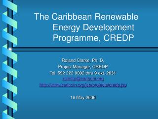The Caribbean Renewable Energy Development Programme, CREDP