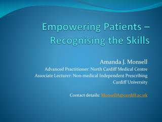 Empowering Patients   Recognising the Skills