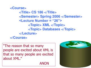 The reason that so many people are excited about XML is that so many people are excited about XML.      ANON