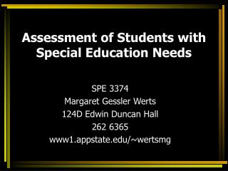 Assessment of Students with Special Education Needs