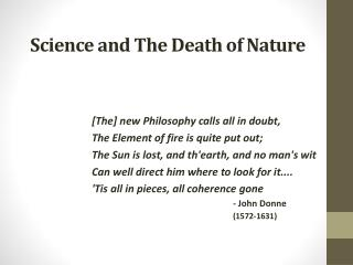 The Death of Nature  Western Culture and the Scientific Revolution