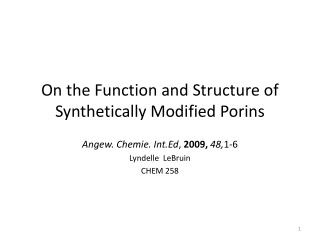 On the Function and Structure of Synthetically Modified Porins