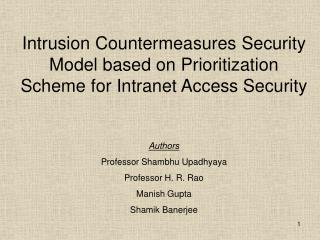 Intrusion Countermeasures Security Model based on Prioritization Scheme for Intranet Access Security