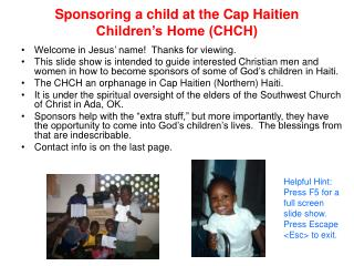 Sponsoring a child at the Cap Haitien  Children s Home CHCH