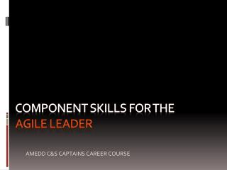 COMPONENT SKILLS For the AGILE LEADER