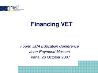 Financing VET