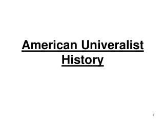 American Univeralist History