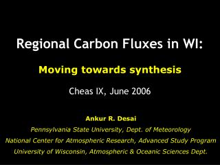 Regional Carbon Fluxes in WI: