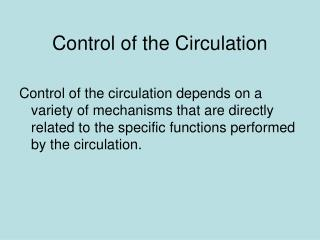 Control of the Circulation