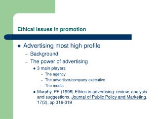 Ethical issues in promotion