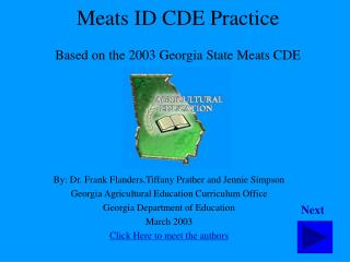 Meats ID CDE Practice  Based on the 2003 Georgia State Meats CDE