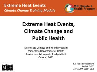 Extreme Heat Events Climate Change Training Module
