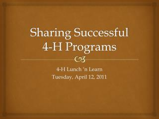 Sharing Successful 4-H Programs