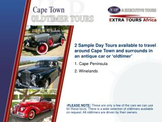 PLEASE NOTE: These are only a few of the cars we can use for these tours. There is a wide selection of oldtimers availab