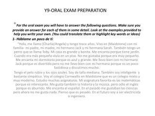 Y9-ORAL EXAM PREPARATION