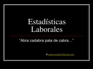 Estad sticas Laborales