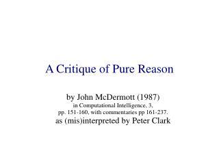 A Critique of Pure Reason