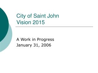 City of Saint John Vision 2015