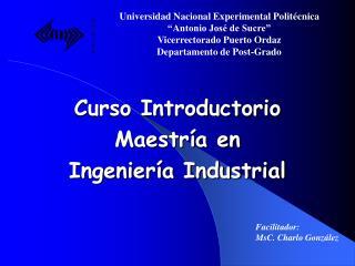 Curso Introductorio Maestr a en  Ingenier a Industrial
