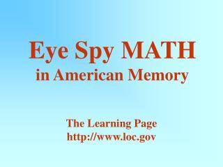 Eye Spy MATH in American Memory