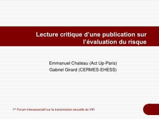 Lecture critique d une publication sur l  valuation du risque