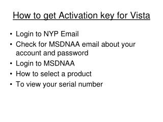 How to get Activation key for Vista