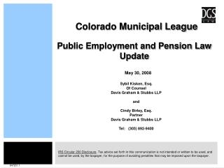 Public Employment and Pension Law Update