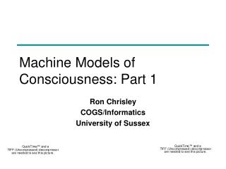Machine Models of Consciousness: Part 1