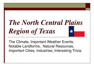 The North Central Plains Region of Texas