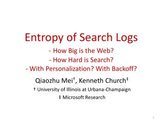 Entropy of Search Logs - How Big is the Web - How Hard is Search  - With Personalization With Backoff