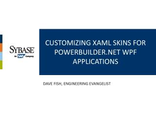 Customizing XAML Skins for PowerBuilder WPF Applications