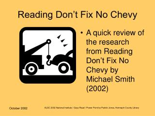 Reading Don t Fix No Chevy