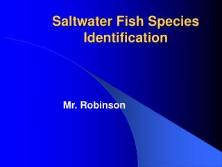 Saltwater Fish Species Identification